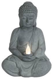 meditating buddha statue with solar