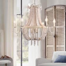 regas classic distressed wood beaded 6 light 9 light white metal chandelier