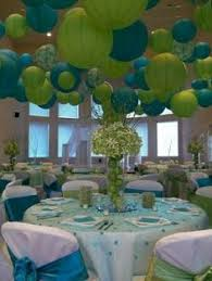 Aqua and lime wedding reception. The lanterns are so fun! Would do this  with  Blue Green ...