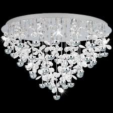 9536 pianopoli stunning large round chrome crystal 43 x 1 8w warm white led close to ceiling pendant
