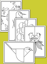 Birds Coloring Cards With Crayons