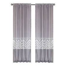 Lined Curtain With Chevron Details And Rod Pocket Slides