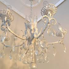 torino 1950 s vintage white shabby chic chandelier from italy