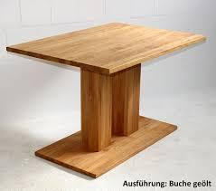 Säulen Esstisch 140x76x95cm Mit Holz Bodenplatte Massivholz Geölt