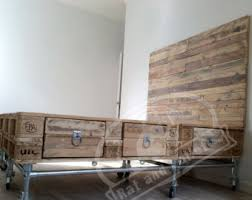 industrial bedroom furniture. Scaffold And Pallet Wood Bed With Headboard Drawers. Modern Upcycled, Recycled / Reclaimed Industrial Bedroom Furniture E