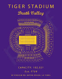 Tiger Stadium Seating Chart Blue Print Or Canvas Lsu Tigers Louisiana State University Baton Rouge Death Valley Poster
