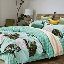 turquoise olive and gray leaf pattern tropical print shabby chic unique egyptian cotton sateen full queen size bedding sets