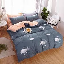 a b side 100 polyester raining clouds bedding sets dark gray duvet cover set pillowcase cover flat sheet king single queen size bedding sets queen bedding