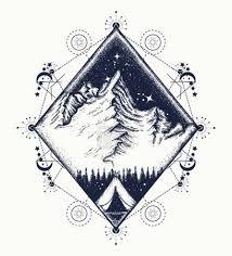 Vektorová Grafika Hory Tetování Umění Symbol Cestovního Ruchu