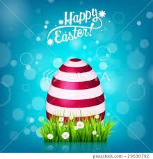Easter Egg Hunt Blue Background April Holidays Stock