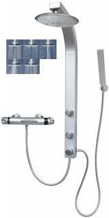 Thermostat Duscharmatur Duschsäule Regendusche 5 Funktionen Silber 081cs R5 T