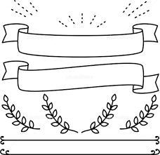 手描きのリボン デコレーションのセット イラスト素材 5603988