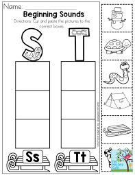 Beginning Sounds- Cut and paste the pictures to the correct boxes ...