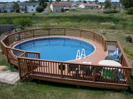 ... Impressive Image Of Backyard Landscaping Decoration Using Above Ground  Round Pool Deck Ideas : Astonishing Picture ...