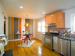 Contemporary Eat In Kitchen With Striped Accent Wall Hgtv