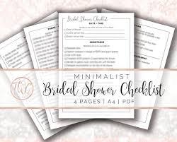 Bridal Shower Checklist Minimalist Printable Bridal Shower List Bridal Shower Bridal Shower Checklist Bridal Shower Planner