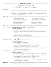 Cover Letter For Auto Mechanic Resume Automotive Technician Resume ...