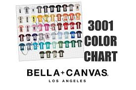 Bella 3001 T Shirt Color Chart