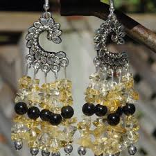 citrine and black onyx chandelier earrings black and yellow