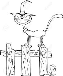 fence drawing. Fence Halloween Drawing ; 10596165-Outlined-Cat-Witch-On-A-