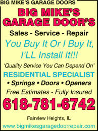 mikes garage doorBig Mikes Garage Door Fairview Heights IL 62208   Yellowbook