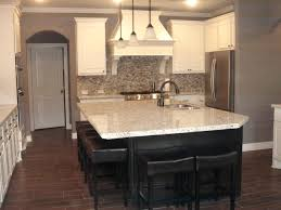 Stone Floors In Kitchen Kitchen Wood Look Tile Dark Island White Cabinets Light Granite