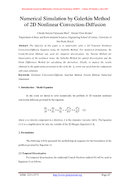 pdf numerical simulation by galerkin method of 2d nar convection diffusion