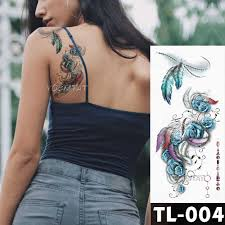 Blue Rose Flower Tattoo Stickers Feather Watercolor Fox Girls Chest Body Arm Art Waterproof Temporary Tattoos Women Flash Tattoo