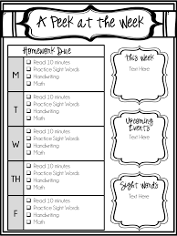 Homework Chart Template For Teachers Editable Weekly Newsletter And Homework Checklist
