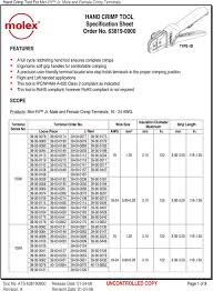 Hand Crimp Tool Specification Sheet Order No Pdf Free Download