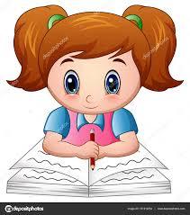 cartoon reading a book stock vector