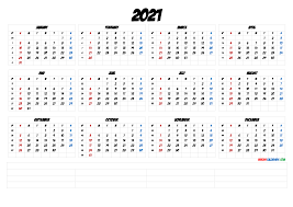 Free printable 2021 calendar by month; 2021 Printable Yearly Calendar With Week Numbers 6 Templates Free Printable 2021 Monthly Calendar With Holidays