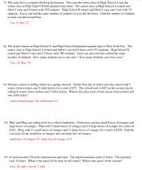 algebra 2 systems of equations word problems worksheet