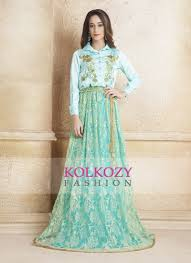 Green Color Hand Beaded Evening Party Dress Kaftan