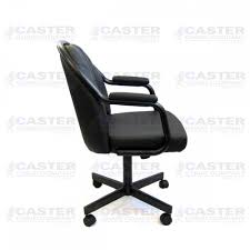 casual dining chairs with casters: caster chair company c empire casual rolling caster dining chair with upholstered arms and black polyurethane seat and back