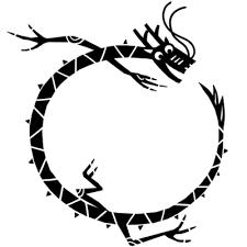 輪になった龍黒の無料素材 イラスト沖縄おきなわ