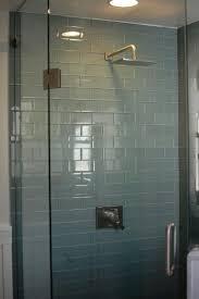Contemporary Bathroom with Rain shower, Modwalls Lush Fog Bank Glass Subway  Tile, frameless showerdoor, flush light