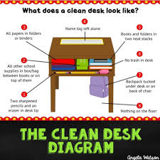 clean desk diagram mini lesson printables for teaching desk organization
