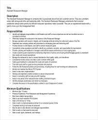 Resume Restaurant Manager Restaurant Manager Resume Template 10 Free Word Pdf