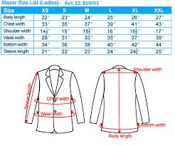 Womens Blazer Size Chart Business Suit Type Size Chart