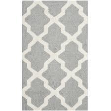 4 x 6 handmade wool area rug in silver grey ivory lattice pattern