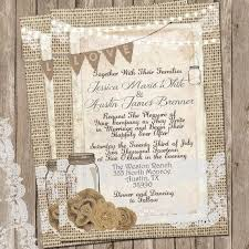 Burlap And Lace Wedding Invitations Rustic Burlap And Lace Wedding Invitation Invite Mason Jar