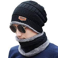 HIVER Handcuffs 2-Pieces <b>Winter</b> Beanie Cap Scarf Set Warm Knit ...