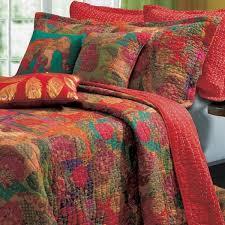 Tropical Red Floral Cotton Reversible Quilt Pillows Set | Luxury ... & Tropical Exotic Red Floral Cotton Quilt Set Adamdwight.com
