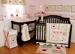 green nursery furniture. Bedroom Daring Image Of Baby Nursery Room Decoration Using Light Pink Green Girl Area Rug Including Heart Ladybug Bedding Set And Wall Paint Inspi Rugs Furniture A