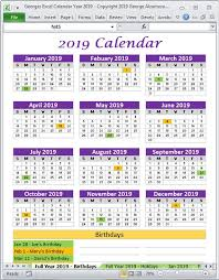 Calendar Year 2019 Printable 2019 Calendar Year Printable Planner Excel Templates 2019 Etsy