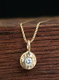 14k gold diamond coin pebble necklace handmade solid gold pendant gold diamond disc pendant bridesmaid gift ready to ship neckwear theresa pytell