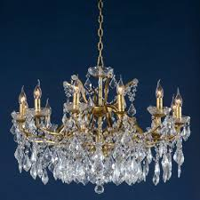 antique gold clear crystal glass 12 light chandelier