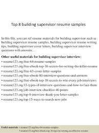 Building A Free Resumes Top 8 Building Supervisor Resume Samples