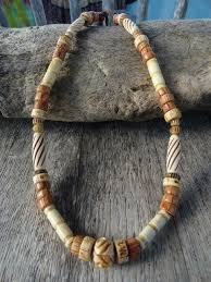 cool surfer necklace bone wood beaded natural hippie beach handmade mens affordable